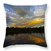 Lagoon Sunset In The Jungle Throw Pillow