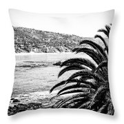 Laguna Beach California In Black And White Throw Pillow