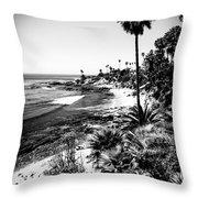 Laguna Beach Pacific Ocean Shoreline In Black And White Throw Pillow