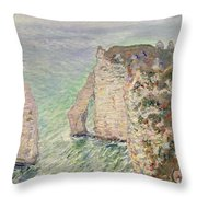 Laiguille And The Porte Daval   Etretat Throw Pillow