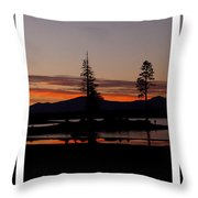 Lake Almanor Sunset Triptych Throw Pillow