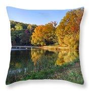 Lake At Chilhowee Throw Pillow by Debra and Dave Vanderlaan