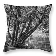Lake Bench In Black And White Throw Pillow