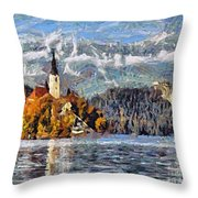 Lake Bled And Mountains Throw Pillow