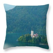 Lake Bled Island Throw Pillow