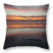 Lake Cassidy Reflections Dramatic Clouds Throw Pillow