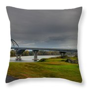 Lake Champlain Bridge Panorama From Crown Point Throw Pillow