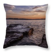 Lake Champlain Sunset Burlington Vermont Oakledge Park Throw Pillow