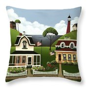 Lake Cottages Throw Pillow