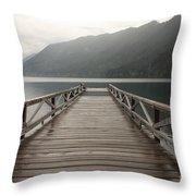 Lake Crescent Dock Throw Pillow