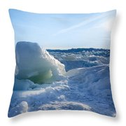 Lake Erie Ice Sunrise Throw Pillow