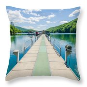 Lake Fontana Boats And Ramp In Great Smoky Mountains Nc Throw Pillow