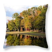 Lake House In Autumn Throw Pillow