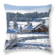 Lake House In Snow Throw Pillow