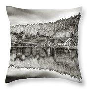 Lake House Reflection Throw Pillow