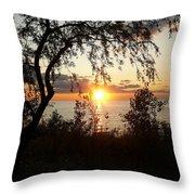 Lake Huron Setting Sun Throw Pillow