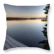 Lake In Autumn Sunrise Reflection Throw Pillow