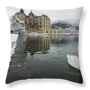 Lake In Front Of A Chateau, Chateau De Throw Pillow