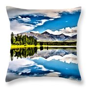 Lake In The Mountains Throw Pillow