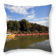 Lake Inlet With Dredger Throw Pillow