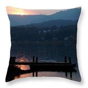 Lake J Sunset Throw Pillow