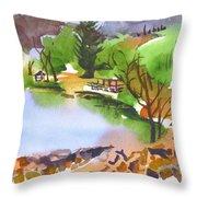 Lake Killarney With Rock Wall Throw Pillow