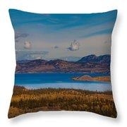 Lake Laberge And Surrounding Taiga In Fall Throw Pillow