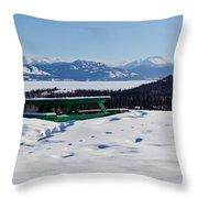 Lake Laberge Yukon Territory Canada In Winter Throw Pillow