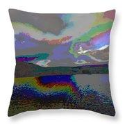 Lake Land And Sky Digitally Painted Photograph Taken Around Poconos  Welcome To The Pocono Mountains Throw Pillow