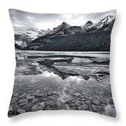Lake Louise - Black And White #2 Throw Pillow
