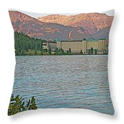Lake Louise Chateau At Sunset In Banff Np-alberta Throw Pillow