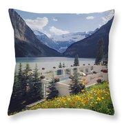 1m3520-h-lake Louise Chateau Throw Pillow