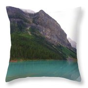 Panoramic Lake Louise, Alberta - Morning Reflections Throw Pillow