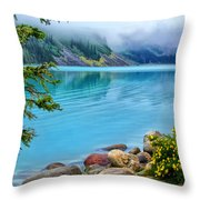 Lake Louise On A Cloudy Day Throw Pillow