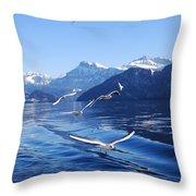 Lake Lucerne Seagulls Throw Pillow