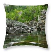 Lake Mcdonald Falls River Glacier National Park Throw Pillow