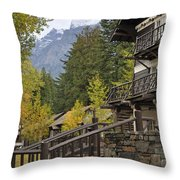 Lake Mcdonald Lodge In Glacier National Park Throw Pillow