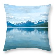Lake Mcdonald Reflection In Glacier  National Park-montana Throw Pillow