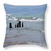 Lake Michigan Green Throw Pillow