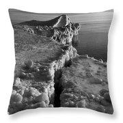 Lake Michigan Ice V Throw Pillow