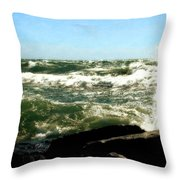 Lake Michigan In An Angry Mood Throw Pillow