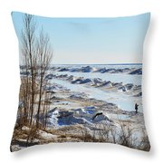 Lake Michigan In Ice Throw Pillow
