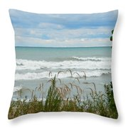 Lake Michigan In Racine Throw Pillow