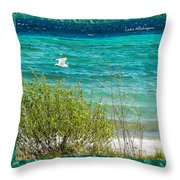 Lake Michigan Seagull In Flight Throw Pillow