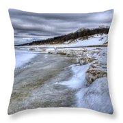 Lake Michigan Shelf Ice Throw Pillow