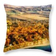 Lake Michigan Shoreline In Autumn Throw Pillow