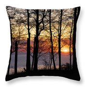 Lake Michigan Sunset With Silhouetted Trees Throw Pillow