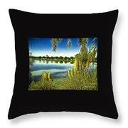Lake Mindon Campground California Throw Pillow by Bob and Nadine Johnston