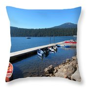 Lake Of The Woods Boat Harbor Throw Pillow