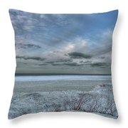 Lake Ontario Snow Throw Pillow